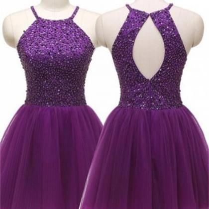 Purple Open Back Short Beaded Prett..