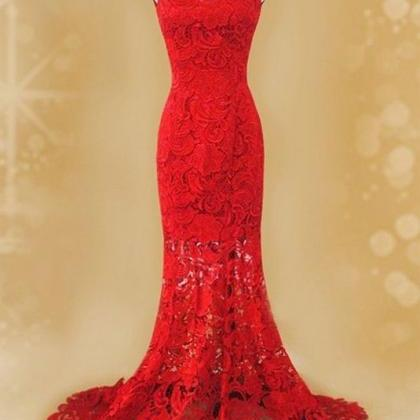 Red Prom Dresses Lace Long Woman's ..