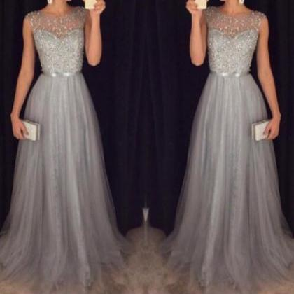 Hot Sales Grey Tulle Prom Dresses,C..