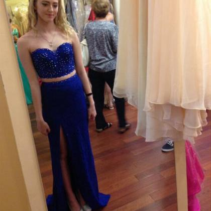 Royal Blue 2 Pieces Mermaid Prom Dr..