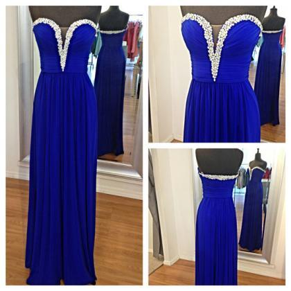 Royal Blue Long Prom Dress With Bea..