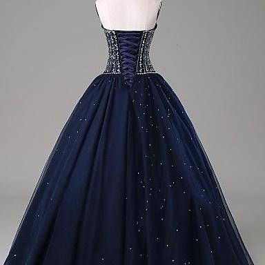 Hot Sales Navy Blue Ball Gown Prom ..