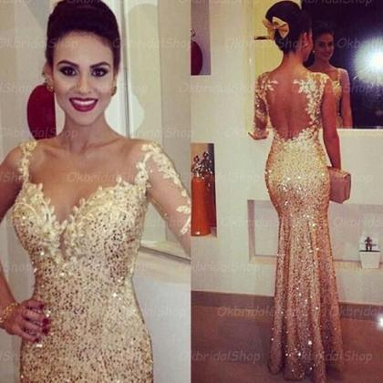 Sexy gold prom dress, sequin prom d..