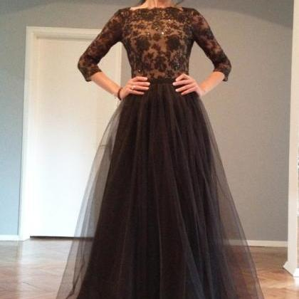 long sleeve lace prom dress, sexy p..