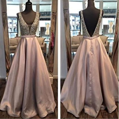 Backless A line Evening Prom Dresse..