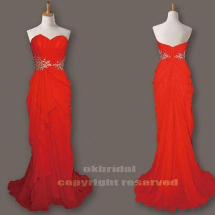 red prom dresses, chiffon prom dres..
