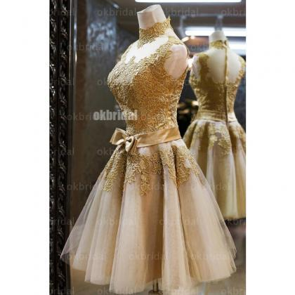 Gold lace homecoming dresses, tulle..