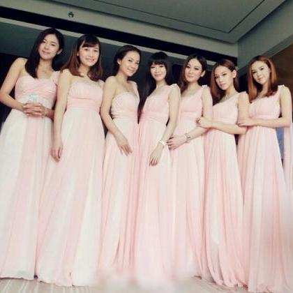 Chiffon bridesmaid dress, One Shoul..