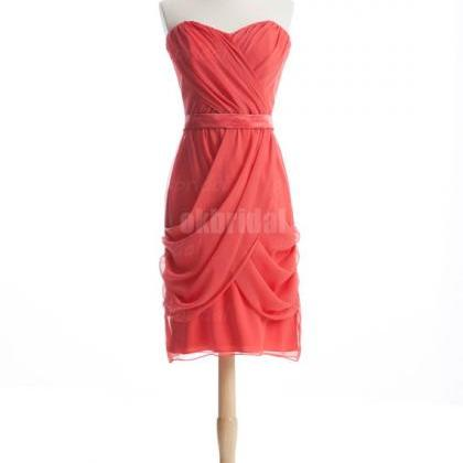 coral bridesmaid dresses, short bri..