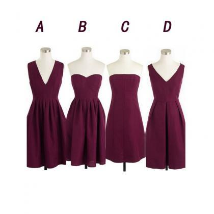 Maroon bridesmaid dresses, short br..