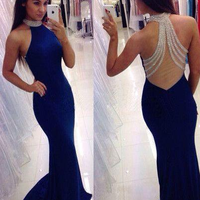 Backless Prom Dresses Long Royal Bl..