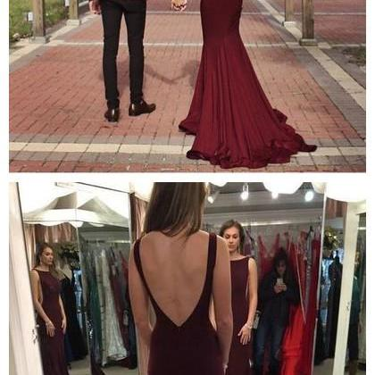 Mermaid Prom Gowns Burgundy Backles..