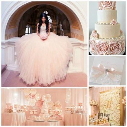 Pretty Glitter Quinceanera Dress Modest Ball Gown Tulle Wedding Dress With  Beading Long Blush Pink Sweet 15 Prom Gowns