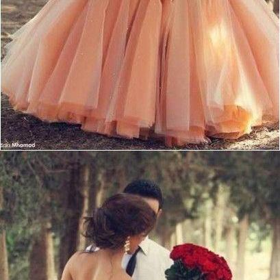 Blush Pink Tulle Wedding Dresses Ba..
