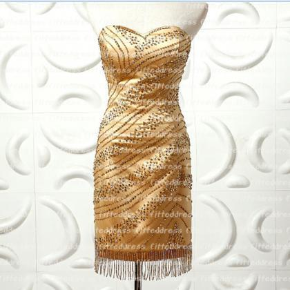 Gold Homecoming dresses, short home..