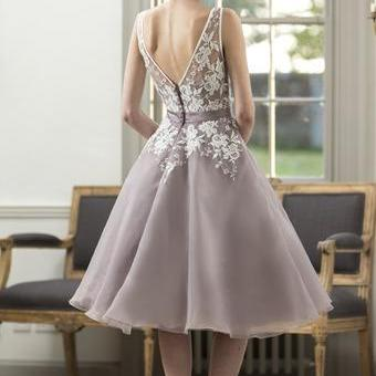 lace bridesmaid dresses, short brid..
