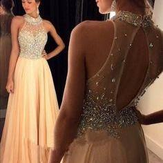 Sparkle Champagne Prom Dress With B..