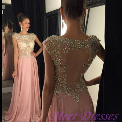 New Pearl Pink Backless Prom Dresse..
