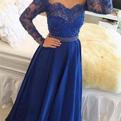 Lace Evening Dress With Long Sleeve..