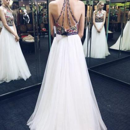 Sexy Floral White Long Tulle Prom D..