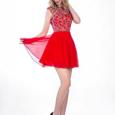 A-line Short Homecoming Dress,Scoop Backless Chiffon Homecoming Dresses,Beaded Sleeveless Prom Dress,red homecoming dresses