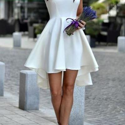 Sleeveless Fit and Flare Little White Dress with High-low Hem