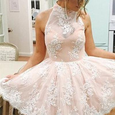 Lace Homecoming Dresses,Dramatic A-line Homecoming Gown,High Neck Homecoming Dress,Above-knee Champagne Lace Homecoming Dress
