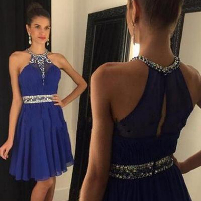 2017 A-line Homecoming Dresses Sleeveless Halter Short/Mini Beading Outlet Zipper Dresses
