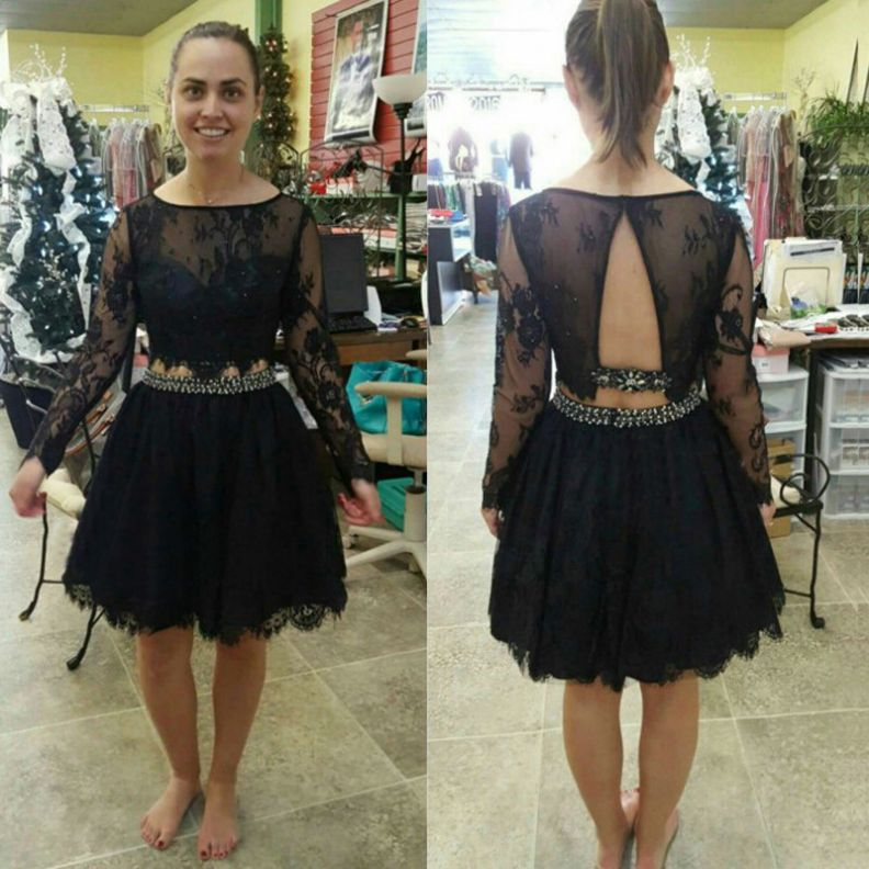 Black Homecoming Dresses Sheer Back Long Sleeves A-Line/Column Bateau Above Knee Lace/Satin Crystal Beads Ruffle