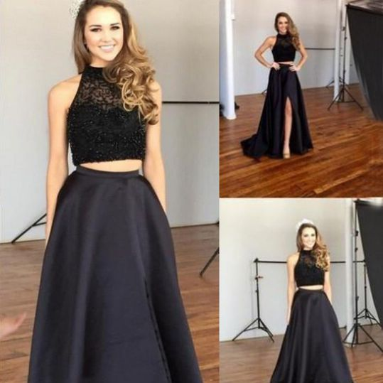 d80119ec70 Black Homecoming Dresses Zipper-Up Sleeveless A-Line/Column High Neckline  Floor Length