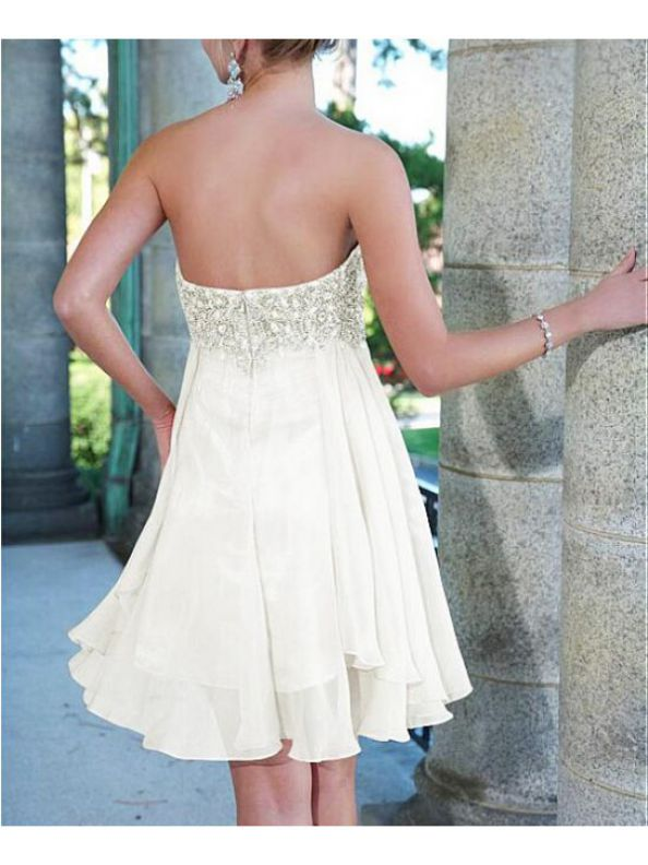 White Homecoming Dresses Sheer Back Sleeveless A lines Sweetheart Neckline Above-Knee Chiffon