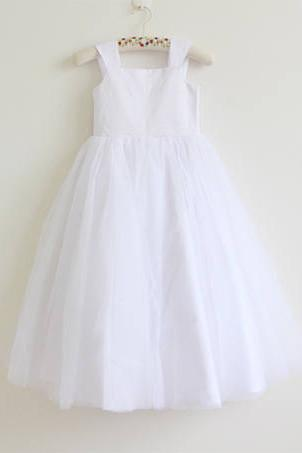 558ad9aa328 White Tulle Straps Long Simple Baby Girl Dress  Flower Girl Dresses OK208