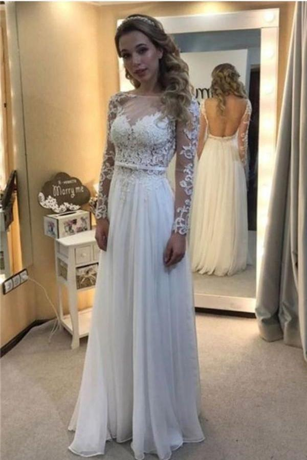 d0113d284e White Lace Chiffon Backless A-line Long Prom Dresses With Sleeves W35