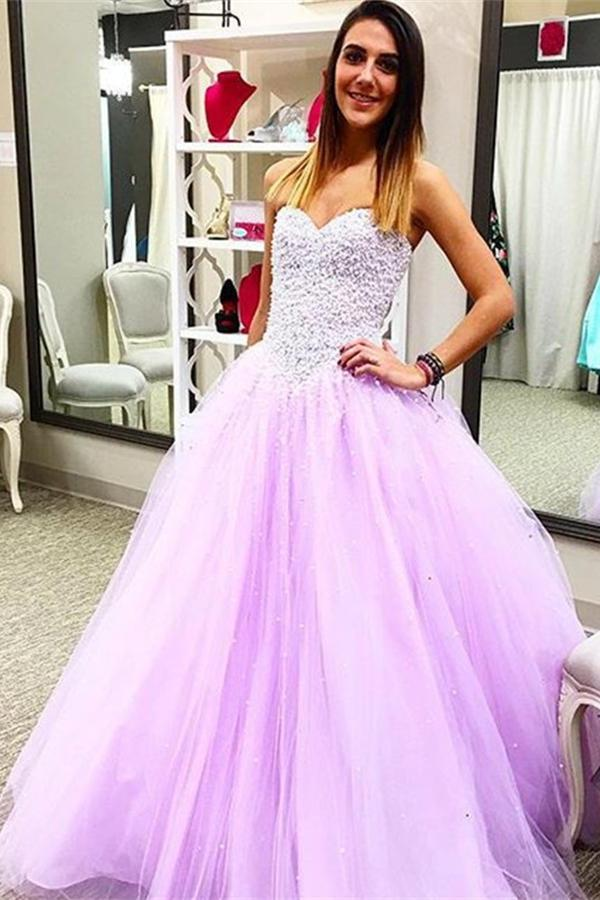 Pretty Sweetheart Beading Ball Gown Handmade Lace Up Prom Dresses K719