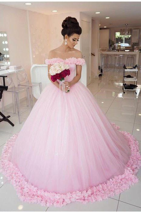 Ball Gown Off Shoulder Pink Tulle Flowers Wedding Dressespink