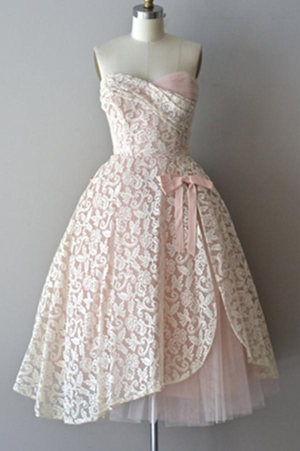 Strapless Lace Pink Pretty Handmade A-line Homecoming Dresses K493