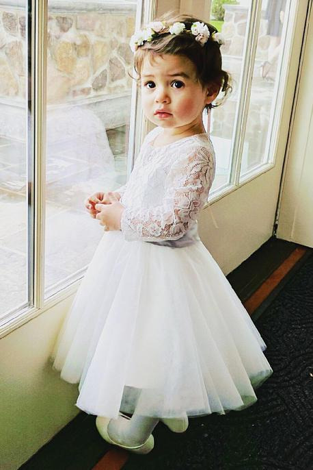 8a613b8994 Long Sleeves Light Ivory Lace Tulle Flower Girl Dress With Silver Sash OK206