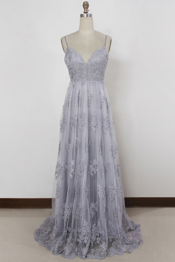 59d3b52a3e Floral Lace Plunge V Spaghetti Strap Tulle Floor Length A-Line Formal Dress  Featuring Plunge V Back