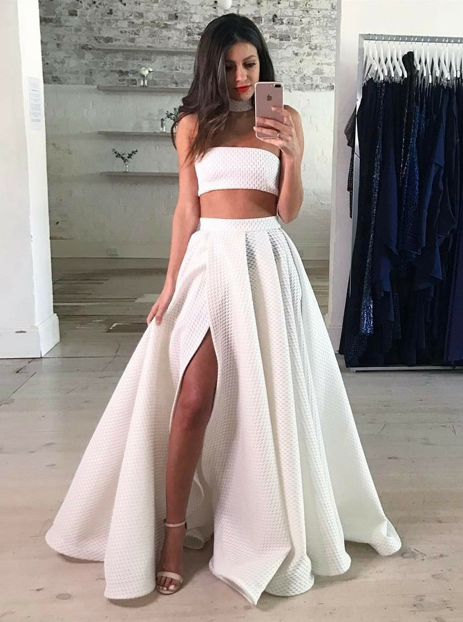 f1865567f5f27c Party Dresses White, Prom Dress Lace, Two Pieces Party Dresses, Long Prom  Dress