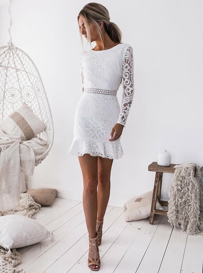Party Dresses Lace Long Sleeves Homecoming Dress White Party Dresses White Lace Homecoming Dress Boho429933