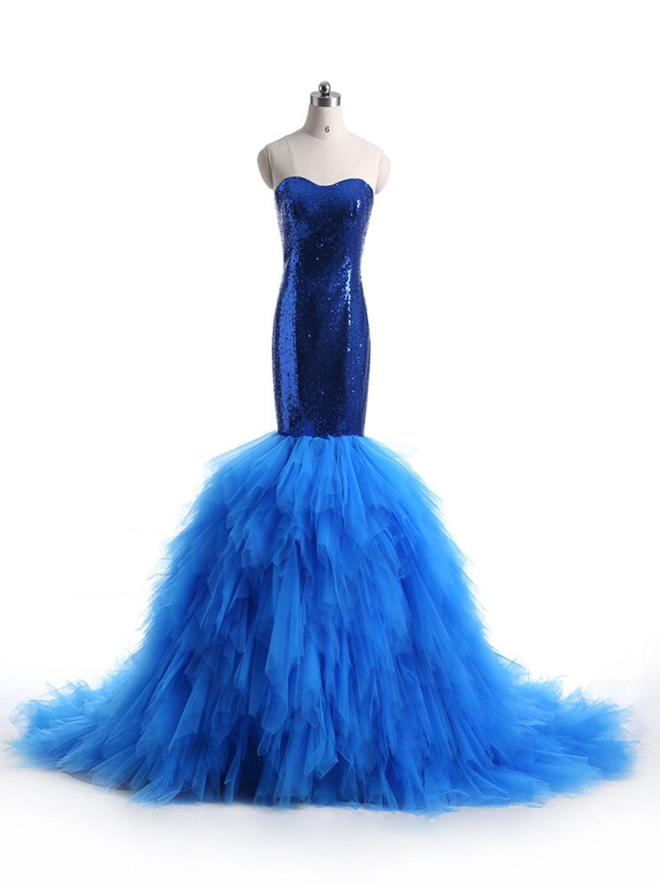 Mermaid Wedding DressesTrumpet DressRoyal Blue Bridal DressSweetheart Chapel Train Tulle Appliques Sequins Backless Zipper Up Dress