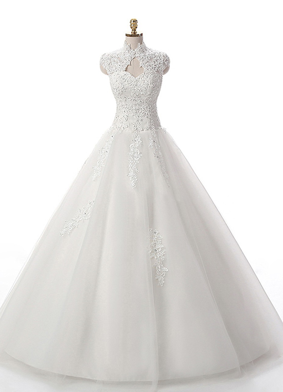 High Neck Floor-Length Beaded Appliqué Wedding Dress