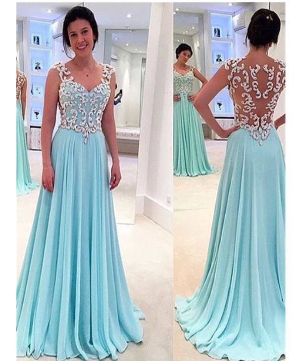 Sky Blue Prom Dresses,Timeless A-Line Sweetheart Prom Gown,Floor Length Evening Dress with Appliques,Chiffon Sleeveless Prom Dress