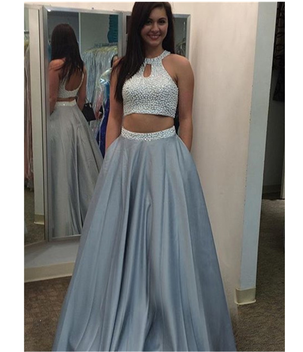 Two-Piece Long Prom Dress With Beaded Embellished Halter Top - Prom ...
