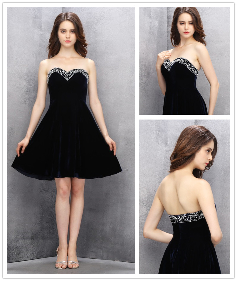 a3a0b4ebecbd A-line Flannel Homecoming Dress,Sweetheart Knee-length Black Empire  Homecoming Gowns with