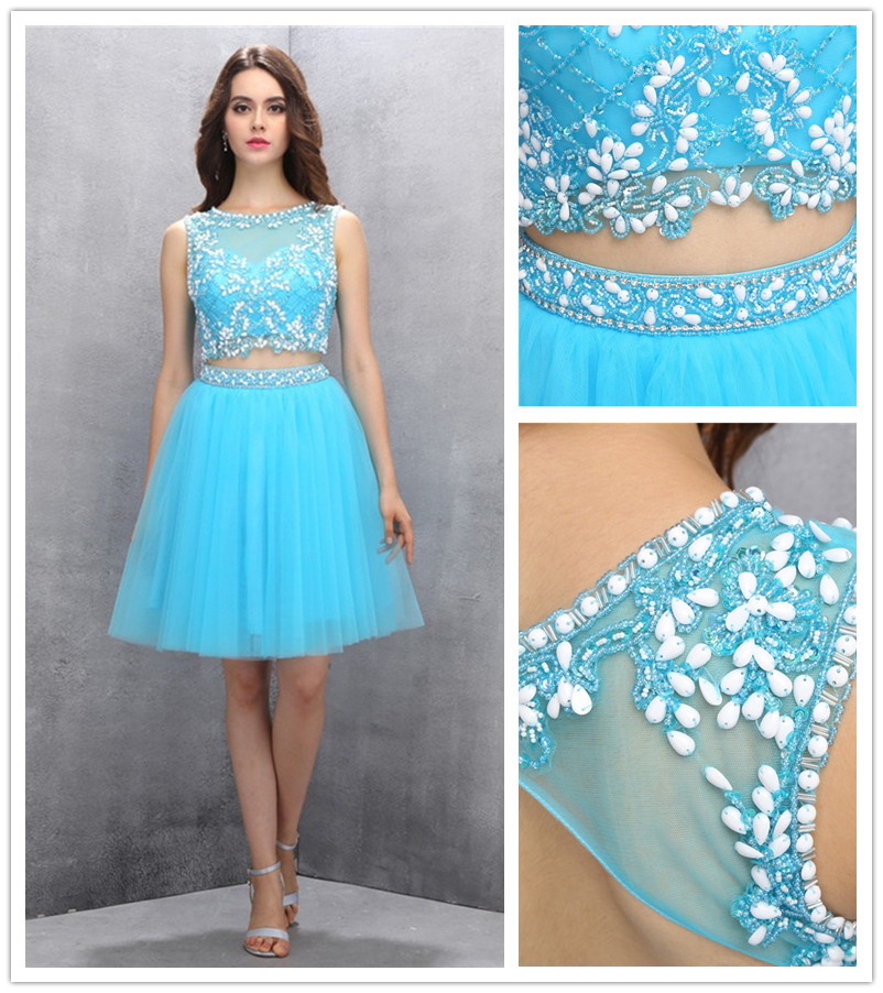 Two-piece Homecoming Gown,Blue Knee-length Homecoming Dress,Organza ...