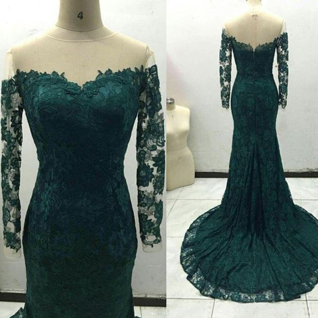 776d094036c8 Off Shoulder Green Lace Long Sleeve See Through Long Sheath Prom Dresses