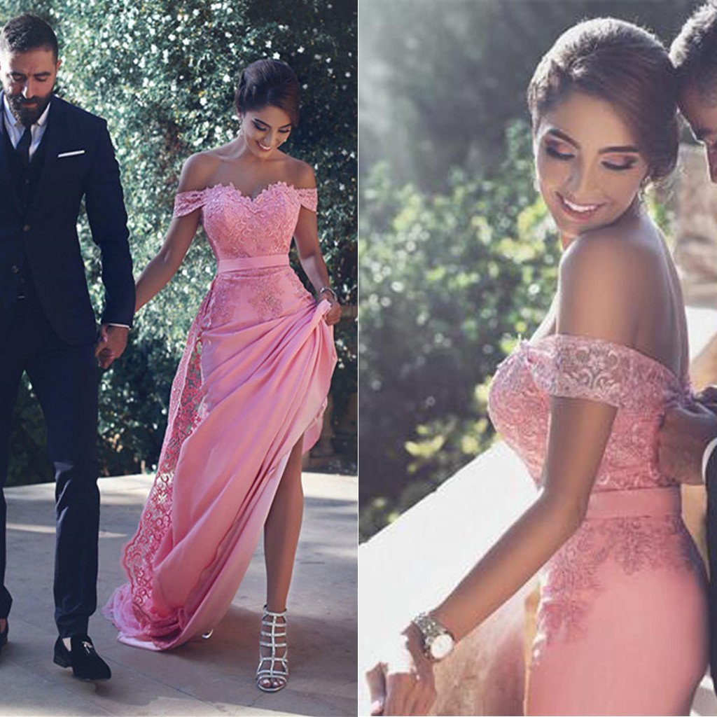 d145457521fb Hot Pink Off Shoulder Sexy Mermaid Lace Prom Dresses, Dresses For Prom,  PD0212