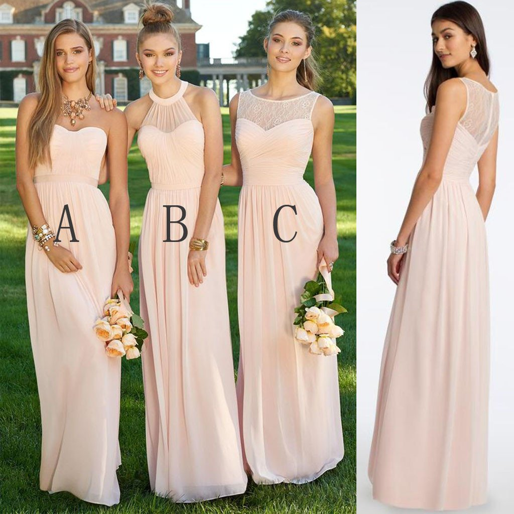 7c4fc4d46c4 Mismatched Different Styles Chiffon Blush Pink Modern Formal Floor-Length Cheap  Bridesmaid Dresses