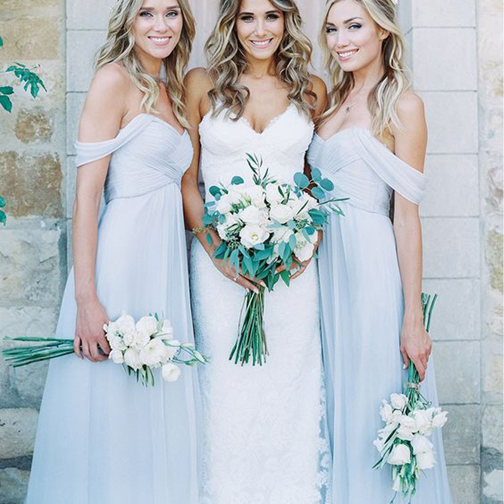 Mismatched Diffe Styles Chiffon Light Blue Y A Line Floor Length Bridesmaid Dresses Wg104